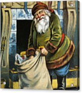 Santa Unpacks His Bag Of Toys On Christmas Eve Acrylic Print