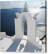 Santorini Bell Tower Casts Shadow Acrylic Print