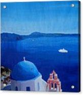 Santorini Greece View From Oia To Caldera Acrylic Print