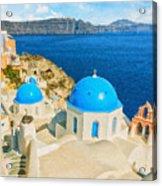 Santorini Oia Church Caldera View Digital Painting Acrylic Print