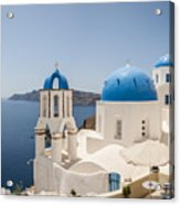 Santorini Oia Churches Stitched Panorama Acrylic Print