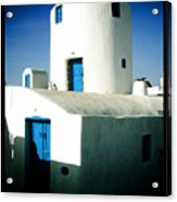 Santorini Silo With Border Acrylic Print