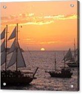Santorini Sunset Sails Acrylic Print