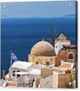 Santorini Windmill And Church Acrylic Print