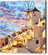 Santorini Windmill At Oia Digital Painting Acrylic Print