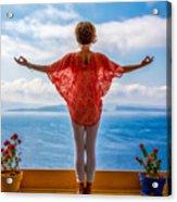 Santorini Yoga Goddess Acrylic Print