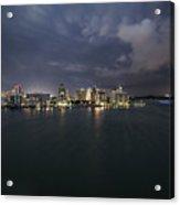 Cityscape - Sarasota Skyline Lightening Acrylic Print