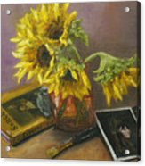 Sargent And Sunflowers Acrylic Print