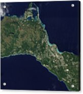Satellite View Of The Island Of Guam Acrylic Print
