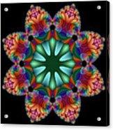 Satin Rainbow Fractal Flower II Acrylic Print