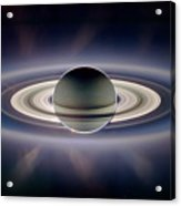 Saturn Silhouetted, Cassini Image Acrylic Print
