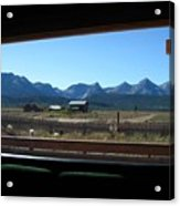 Sawtooth Mountains From Cafe Window Acrylic Print