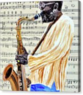 Sax Man With A Yellow Hat Acrylic Print