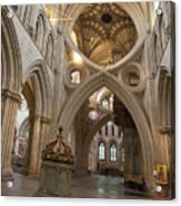 Saxon Baptismal Font Wells Cathedral, Somerset Uk Acrylic Print