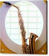 Saxophone In Round Window Acrylic Print by Garry Gay