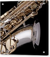 Saxophone Isolated Black Acrylic Print by M K  Miller