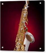 Saxophone On Red Spotlight Acrylic Print by M K  Miller