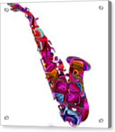 Saxophone With Shadow White Background Acrylic Print