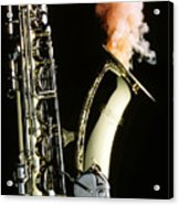 Saxophone With Smoke Acrylic Print by Garry Gay
