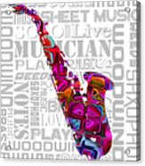 Saxophone With Word Background Acrylic Print