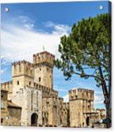 Scaligero Castle At The Entrence Of The Sirmione Medieval Town  Acrylic Print