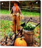Scarecrow And Pumpkin Acrylic Print