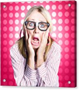 Scared Goofy Business Person Expressing Fear Acrylic Print