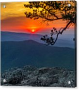 Scarlet Sky At Ravens Roost Panorama I Acrylic Print