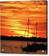 Scarlet Sunrise On Provincetown Pier 1  Acrylic Print