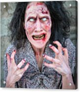 Scary Angry Zombie Woman Acrylic Print