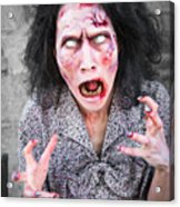 Scary Screaming Zombie Woman Acrylic Print