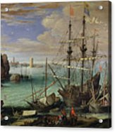 Scene Of A Sea Port Acrylic Print by Paul Bril