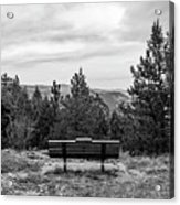 Scenic Bench In Black And White Acrylic Print