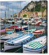 Scenic View Of Castle Hill And Marina In Nice, France Acrylic Print
