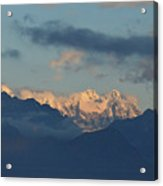 Scenic View Of The Dolomite Mountains With Snow  Acrylic Print