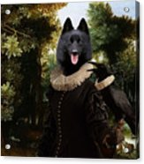 Schipperke Art Canvas Print - Forest Landscape With A Hunter And Noble Lady Acrylic Print