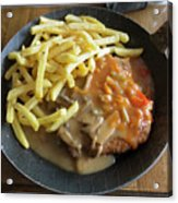 Schnitzel With Two Sauces Acrylic Print