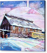 School Bus And Barn Acrylic Print