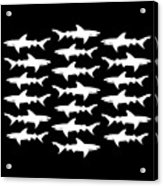 School Of Sharks Black And White Acrylic Print