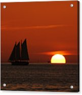 Schooner In Red Sunset Acrylic Print