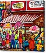 Schwartz's Deli Rainy Day Line-up Umbrella Paintings Montreal Memories April Showers Carole Spandau  Acrylic Print