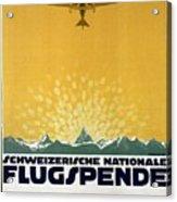 Schweizerische Nationale Flugspende - Flight Donation - Retro Travel Poster - Vintage Poster Acrylic Print