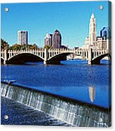 Scioto River With Waterfall Acrylic Print