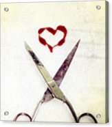 Scissors And Heart Acrylic Print