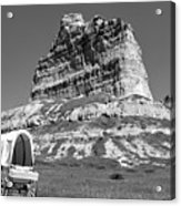 Scots Bluff Black And White Acrylic Print
