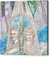 Scott And Zelda In Their New York Dream Tower Acrylic Print