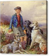 Scottish Boy With Wolfhounds In A Highland Landscape Acrylic Print by James Jnr Hardy