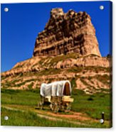 Scotts Bluff Wagon Train Panorama Acrylic Print