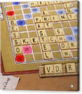 Scrabble Gesso Misplayed Acrylic Print