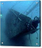 Scuba Diver Exploring  Le Voilier Shipwreck Acrylic Print by Sami Sarkis